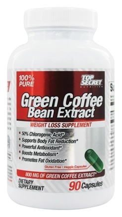 DROPPED: Top Secret Nutrition - Green Coffee Bean Extract 100% Pure Weight Loss Supplement 800 mg. - 90 Capsules