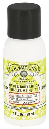 DROPPED: JR Watkins - Natural Apothecary Hand & Body Lotion Aloe & Green Tea - 1 oz.