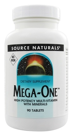 Source Naturals - Mega-One Multi-Vitamin Iron Free - 90 Tablets