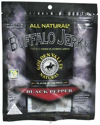 DROPPED: Golden Valley Natural - Natural Buffalo Jerky with Naturally Smoked Flavoring Black Pepper - 3 oz. CLEARANCE PRICED