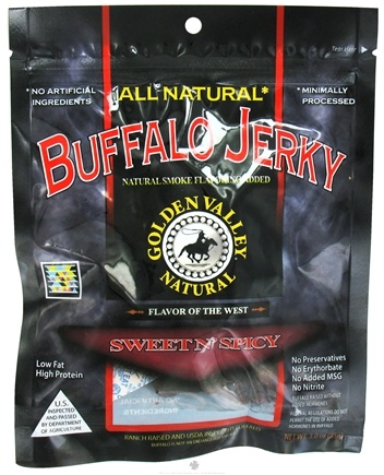 DROPPED: Golden Valley Natural - Natural Buffalo Jerky with Naturally Smoked Flavoring Sweet N' Spicy - 3 oz. CLEARANCE PRICED