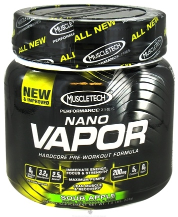 DROPPED: Muscletech Products - Nano Vapor Performance Series Hardcore Pre-Workout Formula Sour Apple - 1.2 lbs.