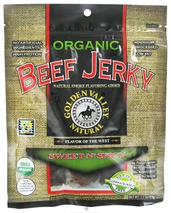 DROPPED: Golden Valley Natural - Organic Beef Jerky with Naturally Smoked Flavoring Sweet N' Spicy - 3 oz. CLEARANCE PRICED