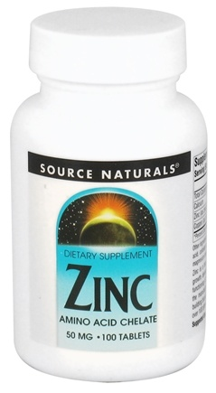 DROPPED: Source Naturals - Zinc Amino Acid Chelate 50 mg. - 100 Tablets CLEARANCE PRICED