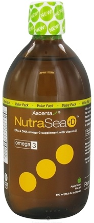 DROPPED: Ascenta Health - NutraSea +D EPA & DHA Omega 3 Supplement With Vitamin D Apple Flavor - 16.9 oz.