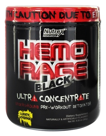 DROPPED: Nutrex - Hemo Rage Black Ultra Concentrate Lunatic Lemonade 30 Servings - 9.21 oz. CLEARANCE PRICED