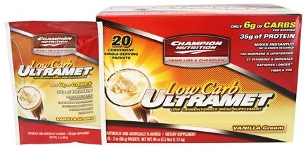 DROPPED: Champion Performance - Ultramet Low Carb Meal Supplement Vanilla Cream - 20 x 2 oz. Packets