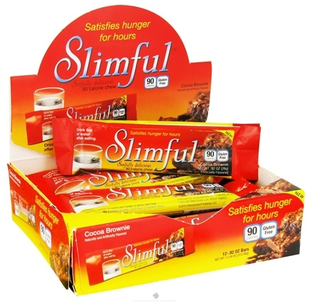 DROPPED: Slimful - Sinfully Delicious 90 Calorie Chew Bar Cocoa Brownie - 12 x .92 oz (26g) Bars - CLEARANCE PRICED