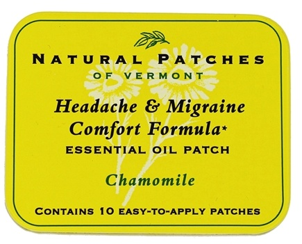 Natural Patches of Vermont - Headache & Migraine Comfort Formula Essential Oil Body Patches Chamomile - 10 Patch(es) Formerly Soothing Migraine Formula