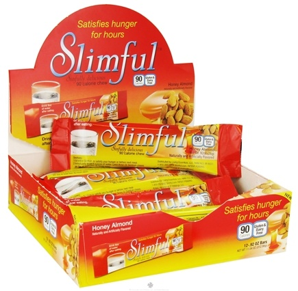 DROPPED: Slimful - Sinfully Delicious 90 Calorie Chew Bar Honey Almond - 12 x .92 oz(26g) Bars - CLEARANCE PRICED
