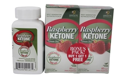 DROPPED: Genceutic Naturals - Raspberry Ketone & Green Tea 500 mg. Bonus Pack 2 x 60 Vegetarian Capsules