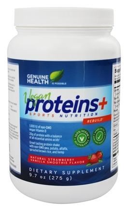 DROPPED: Genuine Health - Vegan Proteins+ Sports Nutrition Natural Strawberry Vanilla Smoothie - 9.7 oz.