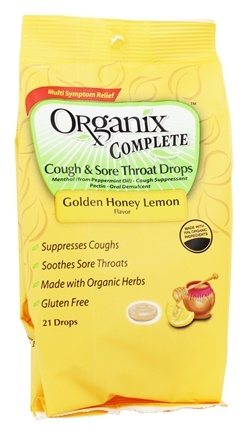 Organix Complete - Cough & Sore Throat Drops Golden Honey Lemon Flavor - 21 Lozenges