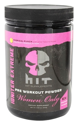 HIT Supplements - Igniter Extreme Pre Workout Powder for Women Only Tropical Punch 25 Servings - 257.41 Grams