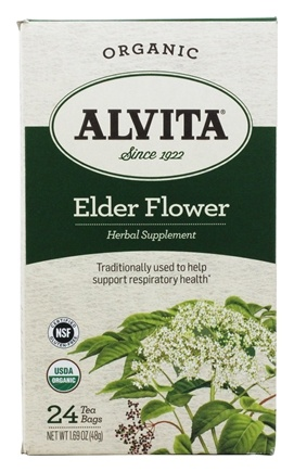 Alvita - Organic Elder Flower Herbal Supplement Tea - 24 Tea Bags