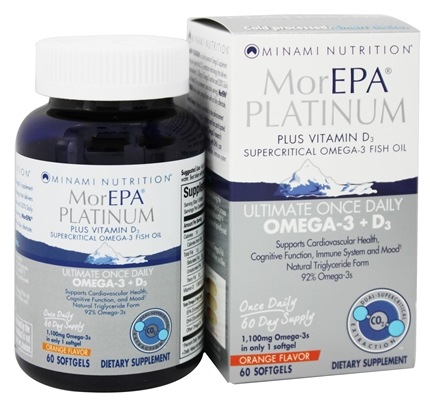 DROPPED: Minami Nutrition - MorEPA Platinum Ultimate Once Daily Omega-3 + D3 Orange Flavor 1100 mg. - 60 Softgels