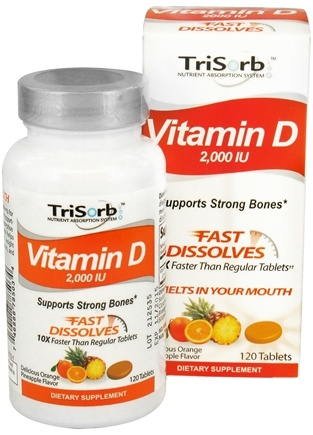 DROPPED: Healthy Natural Systems - TriSorb Vitamin D Fast Dissolves Delicious Orange Pineapple Flavor 2000 IU - 120 Tablets CLEARANCE PRICED