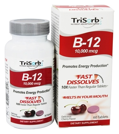 DROPPED: Healthy Natural Systems - TriSorb B12 Fast Dissolves Delicious Cherry Flavor 10000 mcg. - 60 Tablets