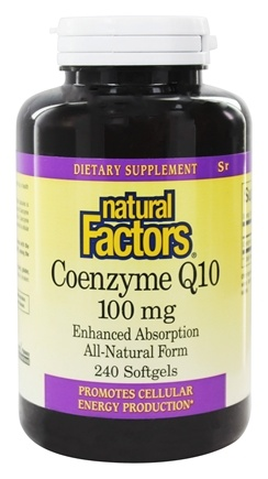 Natural Factors - Coenzyme Q10 Enhanced Absorption All-Natural Form 100 mg. - 240 Softgels
