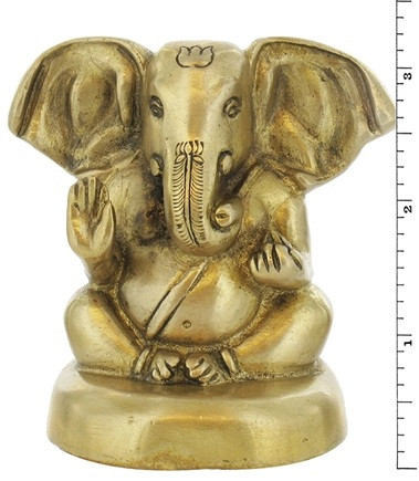 DROPPED: Triloka - Ganesh Statue Recycled Brass - 3.25 in. CLEARANCE PRICED