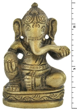 DROPPED: Triloka - Sitting Ganesh Statue Recycled Brass - 2.5 in. CLEARANCE PRICED