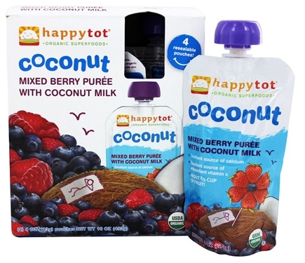 DROPPED: HappyFamily - Happy Tot Organic Baby Food Meals Ages 6+ Months Coconut Mixed Berry Puree with Coconut Milk - 4 x 4 oz. Pouches
