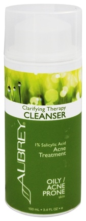Aubrey Organics - Clarifying Therapy Cleanser 1% Salicylic Acid Acne Treatment - 3.4 oz. (Formerly Natural Herbal Facial Cleanser)