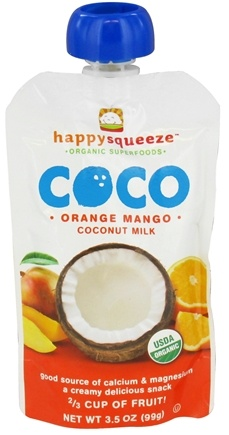 DROPPED: HappyFamily - Happy Squeeze Organic SuperFoods Coco Coconut Milk Orange Mango - 3.5 oz. CLEARANCE PRICED