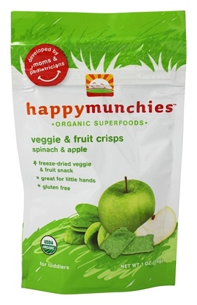 DROPPED: HappyFamily - HappyMunchies Organic SuperFoods Veggie and Fruit Crisps Spinach & Apple - 1 oz.
