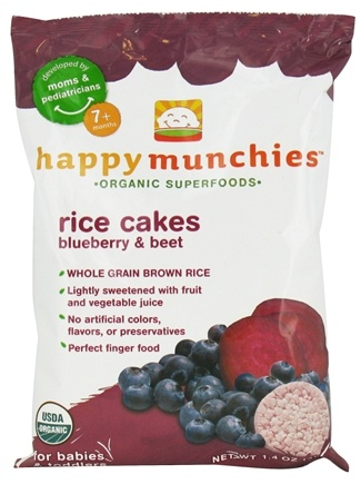 DROPPED: HappyFamily - Happy Munchies Organic SuperFoods Rice Cakes Blueberry & Beet - 1.4 oz.