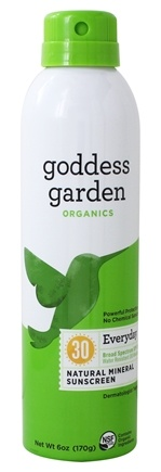 Goddess Garden - Everyday Natural Sunscreen 30 SPF - 6 oz. Formerly Goddess Garden - Sunny Body Natural Sunscreen Continuous Spray