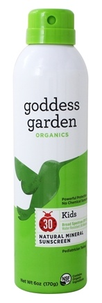 Goddess Garden - Kids Natural Sunscreen 30 SPF - 6 oz. Formerly Goddess Garden - Sunny Kids Natural Sunscreen Continuous Spray