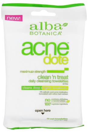 DROPPED: Alba Botanica - Natural ACNEdote Clean 'n Treat Towelettes - 10 Towelette(s)