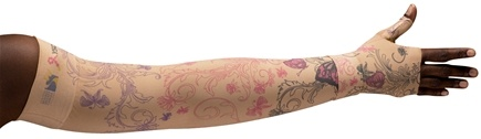 LympheDIVAs - Arm Sleeve Class 1 Short with Diva Diamond Band C4YW Beige - Small