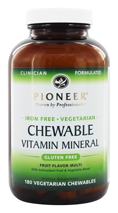 Pioneer - Chewable Vitamin Mineral Iron-Free Fruit Flavor - 180 Chewables