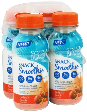 DROPPED: South Beach Diet - Snack Smoothie Perfectly Peach - 4 x 8 oz. Bottles