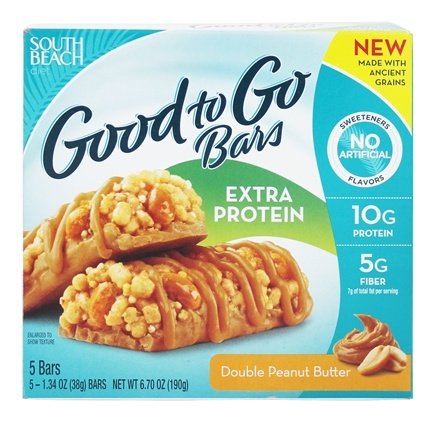 DROPPED: South Beach Diet - Good to Go Bars Extra Protein Double Peanut Butter - 5 Bars