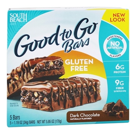 DROPPED: South Beach Diet - Good to Go Bars Gluten Free Dark Chocolate - 5 Bars
