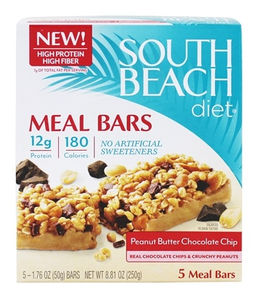 DROPPED: South Beach Diet - Meal Bars Peanut Butter Chocolate Chip - 5 Bars Formerly Chocolate Peanut Butter