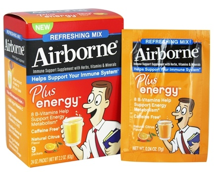 DROPPED: Airborne - Plus Energy Refreshing Mix Natural Citrus Flavor - 9 x 7g Packets