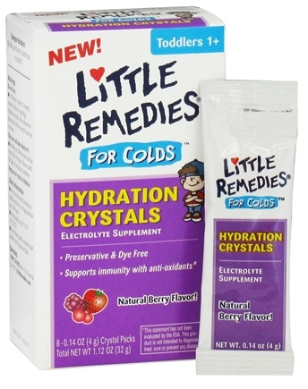 DROPPED: Little Remedies - Hydration Crystals For Colds Berry Flavor - 8 x 0.14 oz (4g) Packets - CLEARANCED PRICED