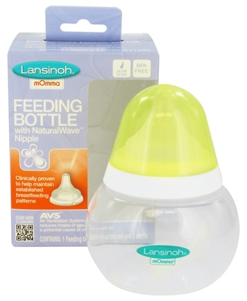 DROPPED: Lansinoh - mOmma Feeding Bottle with NaturalWave Slow Flow Nipple - 8.4 oz. CLEARANCED PRICED