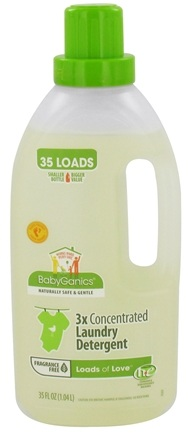 DROPPED: BabyGanics - Laundry Detergent 3X Concentrated Loads of Love Fragrance Free - 35 oz. CLEARANCED PRICED