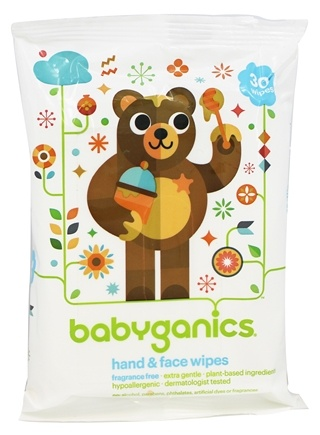 DROPPED: BabyGanics - Hand & Face Wipes Fragrance Free - 30 Wipe(s)