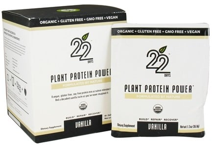 DROPPED: 22 Days Nutrition - Plant Protein Power Vanilla - 10 x 1.3 oz. Packets - CLEARANCE PRICED