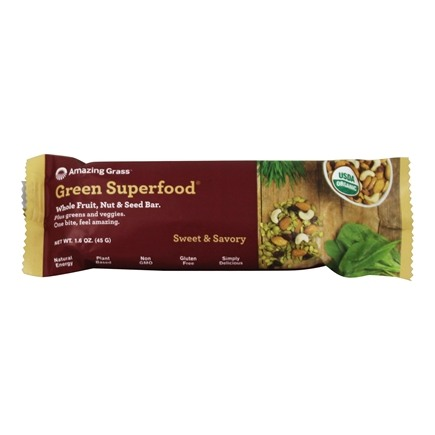 Amazing Grass - Green Superfood Whole Food Nutrition Bar Sweet & Savory Almond - 1.6 oz.