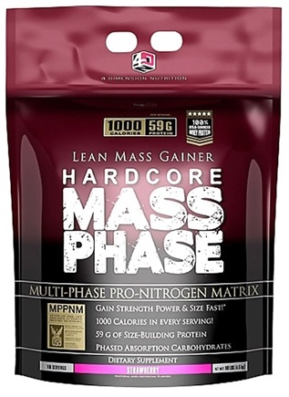 DROPPED: 4 Dimension Nutrition - Hardcore Mass Phase Lean Mass Gainer Strawberry - 10 lbs.
