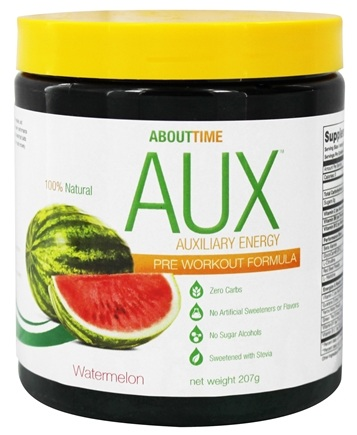 DROPPED: About Time - AUX Auxiliary Energy Pre Workout Formula Watermelon - 207 Grams