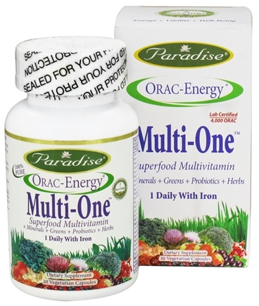 DROPPED: Paradise Herbs - Orac-Energy Multi-One With Iron - 30 Vegetarian Capsules CLEARANCE PRICED