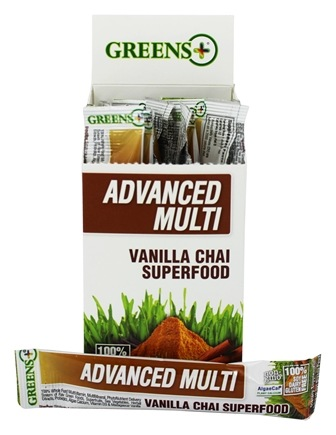 DROPPED: Greens Plus - Advanced Multi Stick Pack Box Vanilla Chai Superfood - 15 x 8.9g. Stickpacks CLEARANCE PRICED